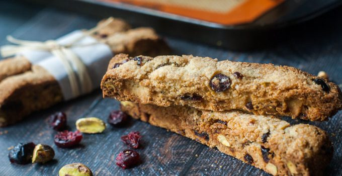 Holiday Cranberry & Pistachio Biscotti (low carb, gluten free)