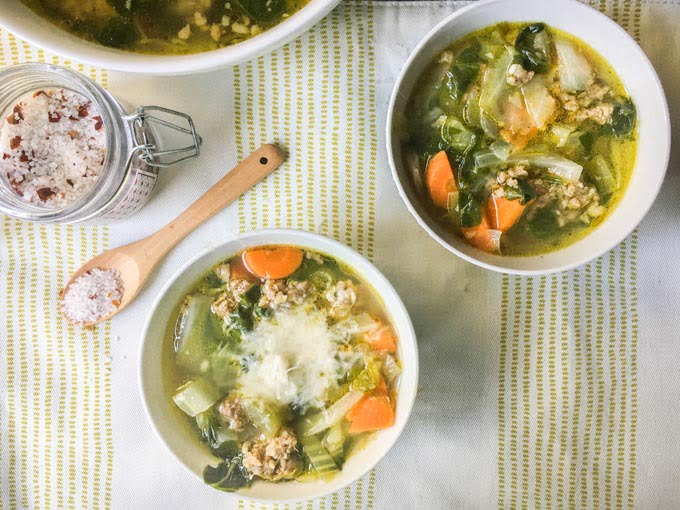 This low carb vegetable & sausage soup is the perfect dish for a cold day. Full of healthy ingredients and spicy sausage to make a flavorful soup with only   3.8g net carbs per serving.