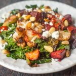 Just in time for the holiday season, this colorful and flavorful roasted vegetable & goat cheese salad is perfect for a crowd. Roasted winter vegetables are tossed in a light honeyed dressing and topped with tangy goat cheese.