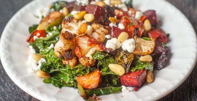 Roasted Vegetable & Goat Cheese Salad #SundaySupper