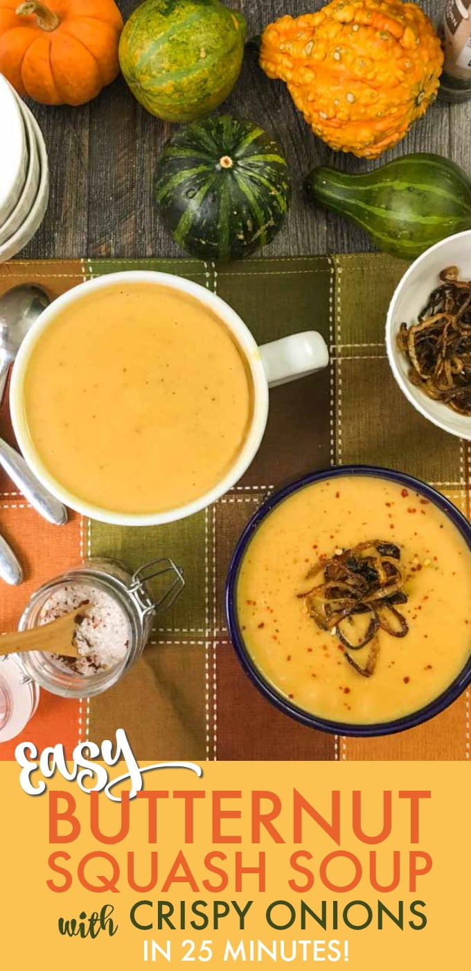 This butternut bisque with crispy onions is the perfect comfort food you can make in just 25 minutes. The smooth and creamy butternut soup has a hint of sweetness and is balanced with the crispy onions topping.