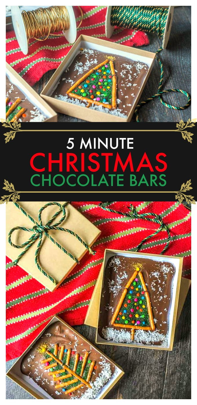 These 5 minute Christmas chocolate bars make a fun little gift that you can make with your kids.