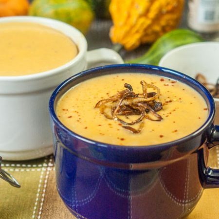 This butternut bisque with crispy onions is the perfect comfort food you can make in just 15 minutes. The smooth and creamy butternut soup has a hint of sweetness and is balanced with the crispy onions topping.