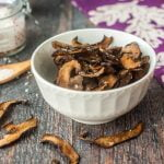 If you like mushrooms you will love these low carb portobello mushroom chips. It's simple to make these mushroom chips and they are full of flavor with only 0.4g net carbs per serving.