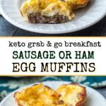 white plates with keto sausage egg muffins and text