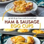 ham and sausage egg cups and text overlay