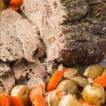 closeup slow cooker lamb should and scatter roasted potatoes and carrots with text overlay