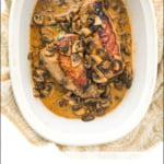 keto stuffed pork tenderloin with mushroom sauce and text overlay