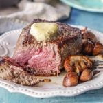This filet mignon with blue cheese butter makes the perfect low carb Valentine's day dinner. The decadent butter and the tender beef are also very easy to prepare for a special occasion.