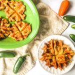 These low carb jalapeño popper waffles can be a great snack, lunch or even breakfast! They are savory waffles with a bit of a kick and only take a few minutes to make.  1.1g net carbs each.