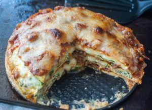 If you are craving lasagna on a low carb or gluten free diet, this is the recipe for you. It's rich and savory and highly addicting at only 6.3g net carbs per serving.