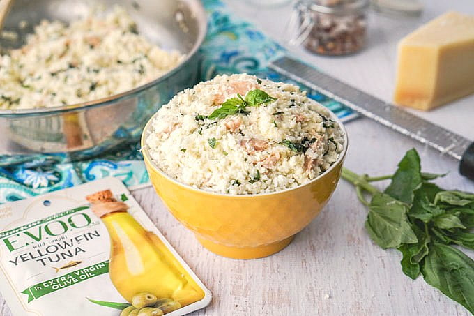 This low carb Creamy Basil Tuna & Cauliflower Risotto is a delicious meal you can make in just 10 minutes!