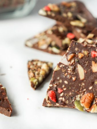 This low carb chocolate bark is loaded with good for nuts, seeds and other superfoods. You can even eat the ingredients as a healthy cereal in the morning.