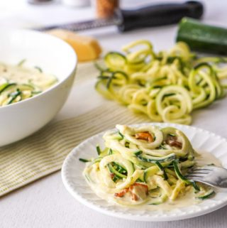 Who would know low carb zucchini noodles carbonara could taste so good! This easy low carb pasta dish takes less than 20 minutes to make and is so rich and creamy you will really enjoy the veggie noodles!