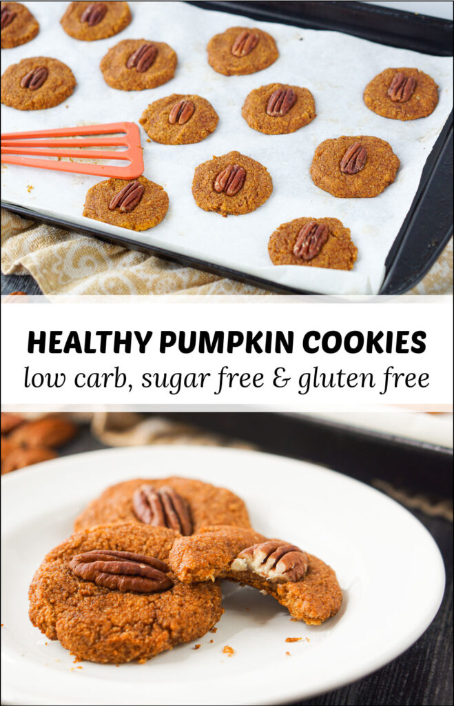 cookie sheet and white plate with healthy keto pumpkin cookies and text