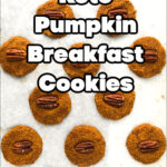 cookie sheet with healthy keto pumpkin cookies and text