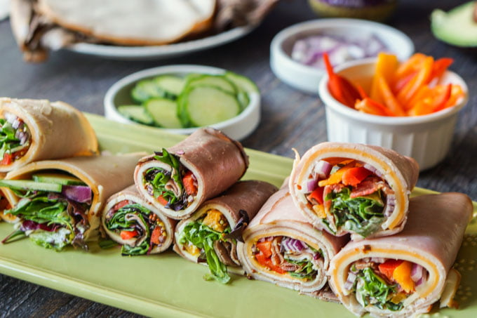 These low carb lunch meat wraps are a deliciously easy low carb snack or even lunch that you can make in minutes. Using low carb vegetables, condiments and cheeses, you can mix and match to make a tasty wrap without the bread.