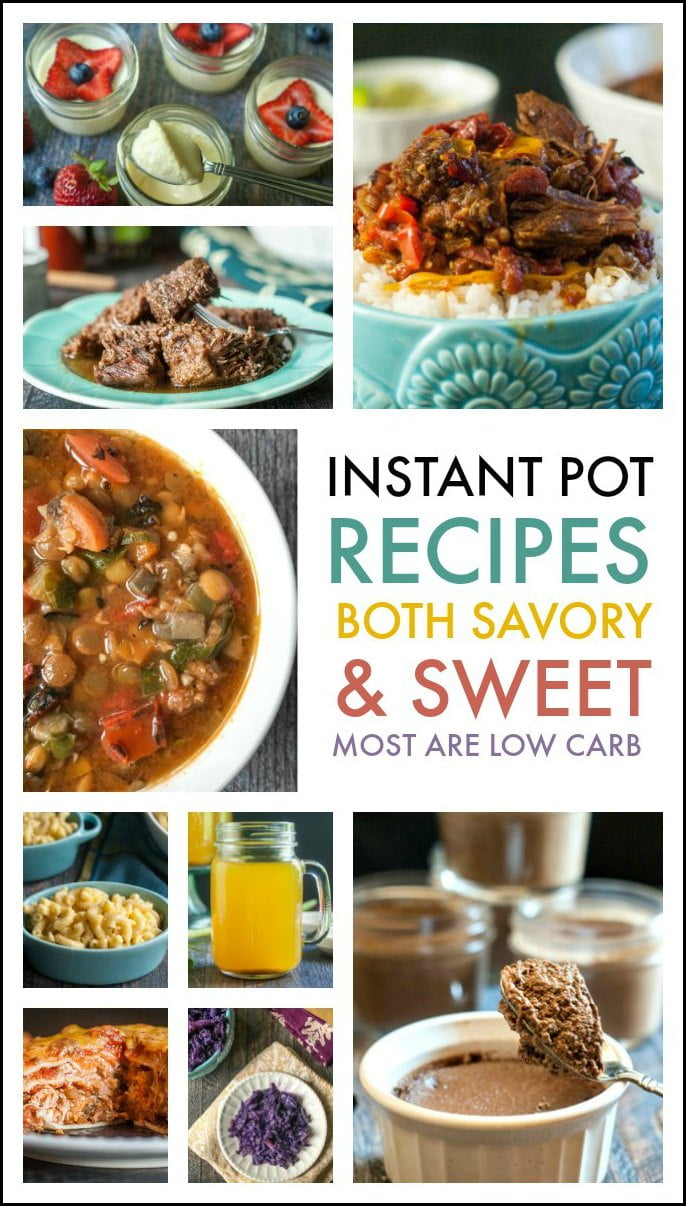 If you just got an Instant Pot recently or are a pressure cooker veteran, you will love these easy low carb Instant Pot recipes. I have many many main dishes and a few sweet dishes too. Check them out below!