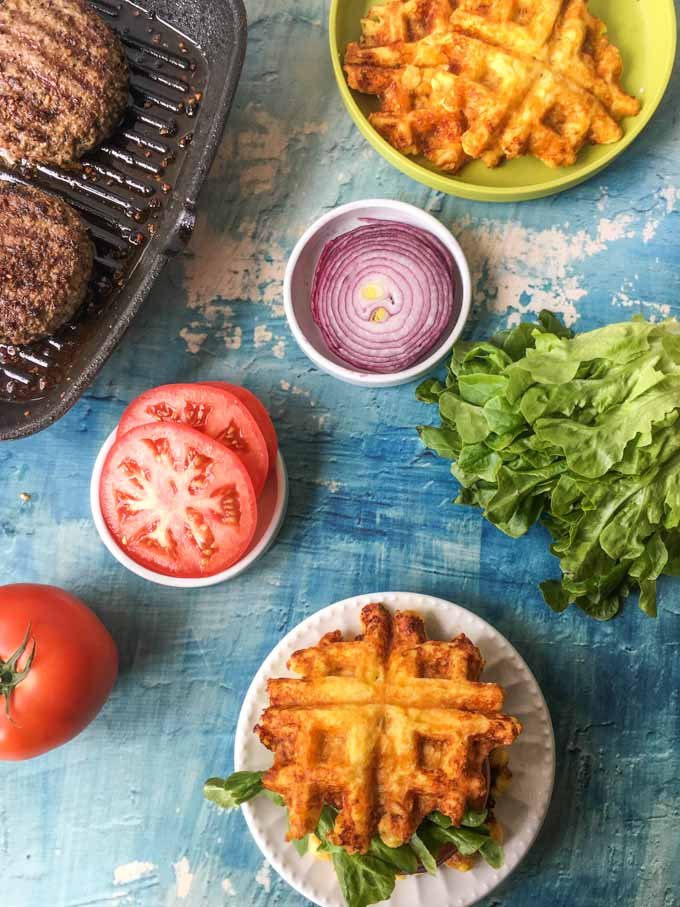 Looking for a fun low carb bun for your burger? Try a cheese waffle burger! Cheesy, chewy and perfect on your favorite burger. Only 1.6g net carbs for 2 waffles which equals 1 bun. Add your favorite toppings like bacon, peppers, onions, etc.