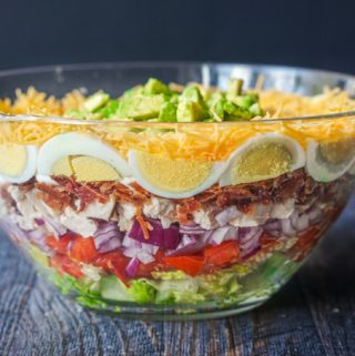 This low carb layered cobb salad is reminiscent of a seven layered salad but with all the fixing of a regular cobbb salad.