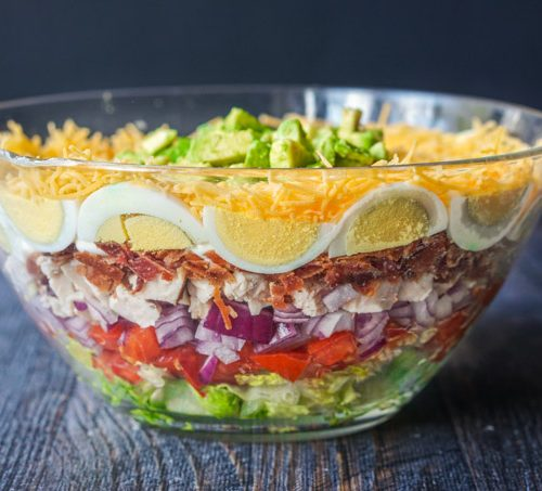 low carb layered cobb salad for picnics and parties