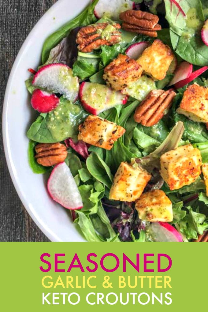If you are missing those tasty, crunchy bits of bread on your salad, try these seasoned garlic keto croutons! It only takes 4 ingredients and these low carb croutons are full of flavor. #croutons #Lowcarb #keto #salads #halloumi #ketocroutons #ketobread #lowcarbbread