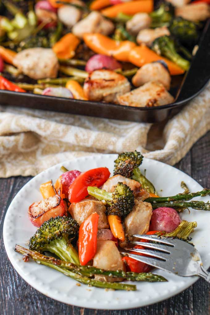 If you are looking for a quick and easy dinner, try this marinated chicken & vegetable sheet pan dinner. Marinate the chicken overnight, cut your veggies and you are ready to go.