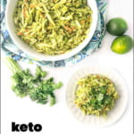 white bowl and dish with keto avocado coleslaw with text