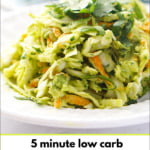 white dish with keto avocado coleslaw with text