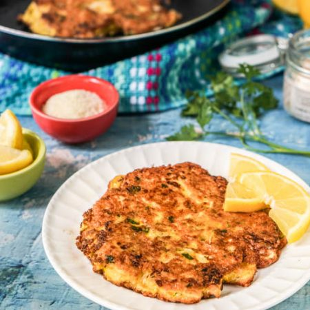 These low carb cauliflower steaks Romano make for a delicious lunch or side dish. Not only are they low carb, they are gluten free and very easy to make. Only 5.2g net carbs per steak.