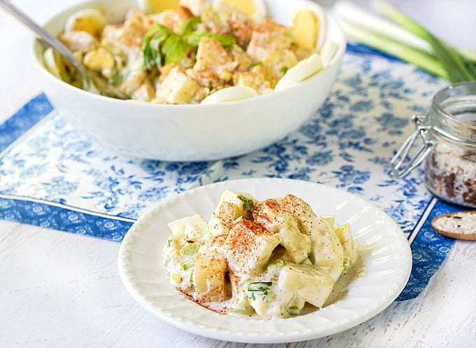 Summer is all about potato salad for me, so I came up with this low carb potato-less salad using celeriac or rutabaga. You will love how good of a potato substitute these vegetables are!