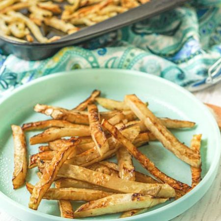 These easy, healthy low carb fries are made with celery root, otherwise known as celeriac. In just minutes you can have tasty crispy fries that taste surprisingly like potato fries but with less carbs.