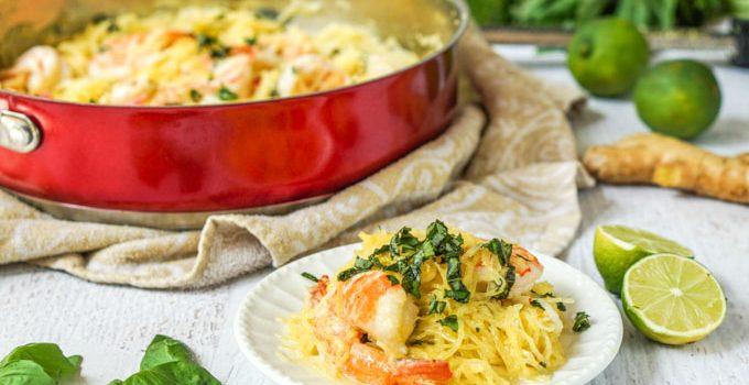 Coconut Basil Shrimp Spaghetti Squash – delicious low carb, gluten free pasta dish
