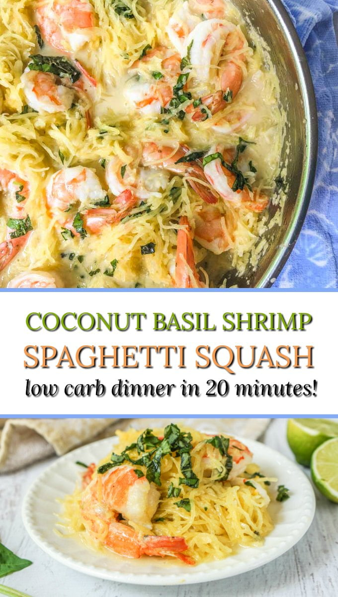 pan with coconut basil shrimp spaghetti squash and text