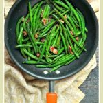 pan with ow carb green beans and bacon and text