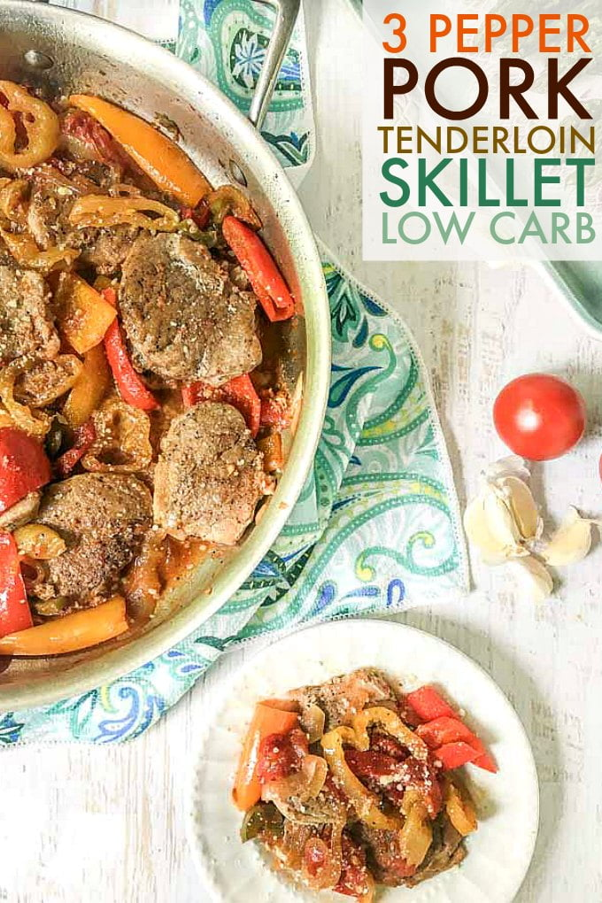 A simple but tasty dinner, you can easy make this 3 pepper pork tenderloin skillet any night of the week. Tender pork and spicy peppers make for a delicious low carb dinner.
