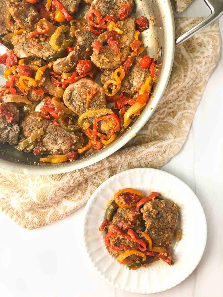 skillet and plate with 3 pepper pork skillet dinner