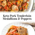 pan and white dish with 3 pepper pork tenderloin dinner and text