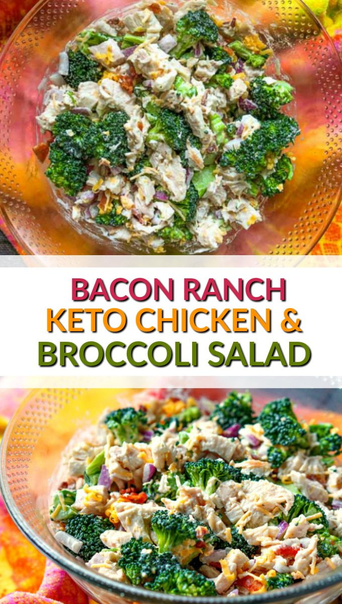 glass bowl with keto bacon ranch chicken & broccoli salad with colorful towel and text