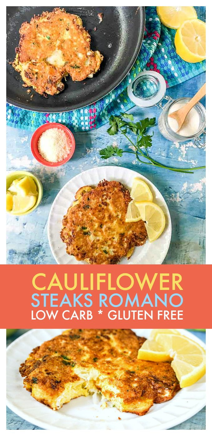 cauliflower steaks on white plates and blue table with text overlay
