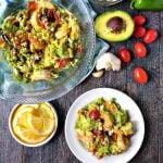bowl with keto avocado shrimp salad and text