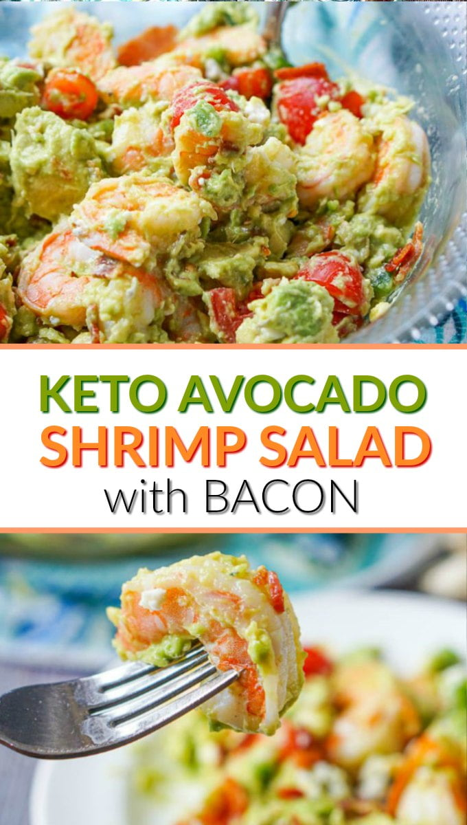 bowl with keto avocado shrimp salad and text