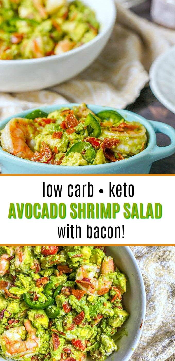 keto avocado shrimp salad in blue bowl with text overlay
