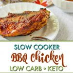 plates and platters of slow cooker bbq chicken with text overlay