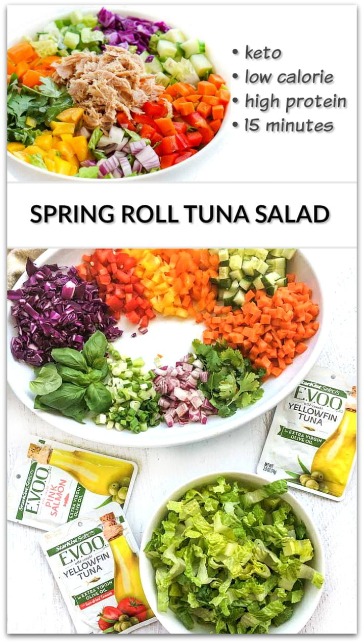 white bowl with low carb tuna spring roll salad and text overlay