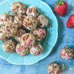 The strawberry cheesecake bites are a little bit of low carb heaven. They taste like strawberry pretzel salad rolled up in one low carb bite. Only a few ingredients needed  to make these and they are only 1.7g net carbs per bite!