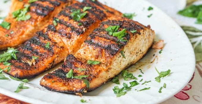 Low Carb BBQ Salmon with Garlic Herb Sauce Grilled Indoors