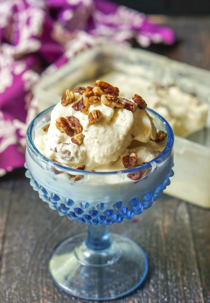 This low carb ice cream has the creamy flavor of caramel along with buttery toasted pecans. It's rich and delicious and perfect for a hot summer day. No ice cream maker necessary to make this sugar free ice cream dessert. #icecream #lowcarb #keto #lowcarbdieting #caramel #lowcarbicecream #nochurn