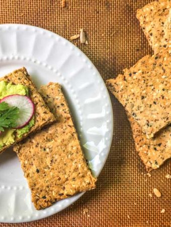 This low carb and gluten free crispbread is the perfect vehicle for avocado toast or anything else you would like to top it with. It's full of healthy ingredients and has a great crunch that will satisfy you on a low carb diet.  Only 0.9g net carbs per piece.
