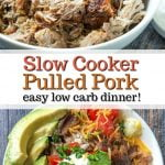 white bowl with slow cooker pulled pork and white bowl with rice bowl and text